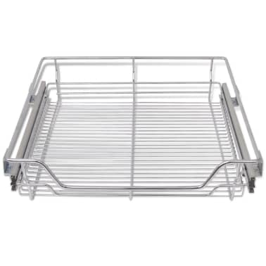 """vidaXL Pull-Out Wire Baskets 2 pcs Silver 23.6""""[4/7]"""
