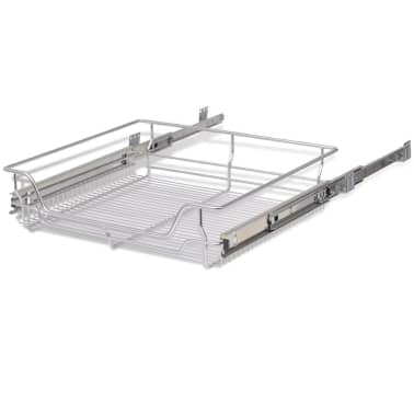 "vidaXL Pull-Out Wire Baskets 2 pcs Silver 23.6""[6/7]"