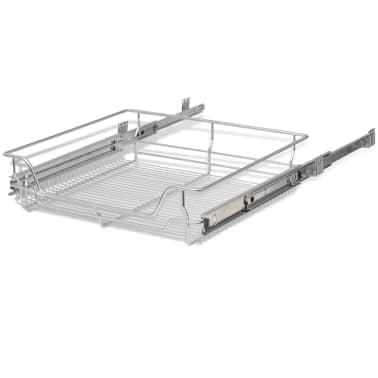 vidaXL udtrækkelige trådkurve 2 stk. sølvfarvet 600 mm[6/7]