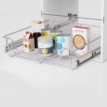 """vidaXL Pull-Out Wire Baskets 2 pcs Silver 23.6""""[1/7]"""
