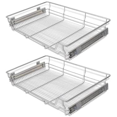 "vidaXL Pull-Out Wire Baskets 2 pcs Silver 31.5""[2/7]"