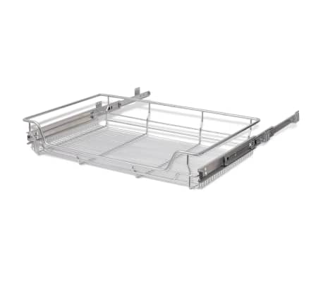 "vidaXL Pull-Out Wire Baskets 2 pcs Silver 31.5""[6/7]"