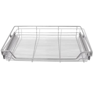"vidaXL Pull-Out Wire Baskets 2 pcs Silver 31.5""[4/7]"