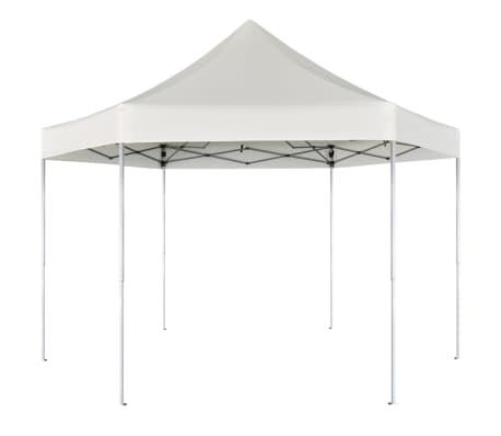 vidaXL Zložljiv šotor šestkoten kremno bel 3,6x3,1 m