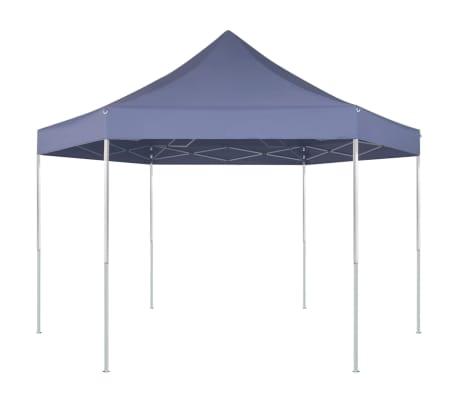 vidaXL Шестоъгълна pop-up сгъваема шатра, тъмносиня, 3,6x3,1 м