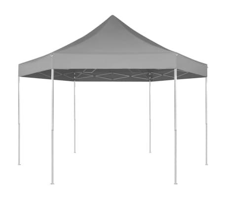 vidaXL Partytent pop-up zeshoekig inklapbaar 3,6x3,1 m grijs