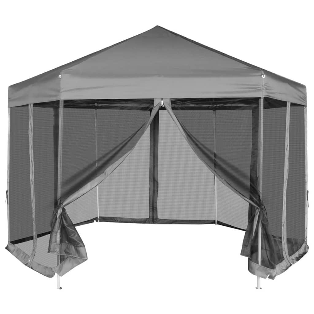vidaXL Partytent zeshoekig pop-up met 6 zijwanden grijs 1,8x1,8 m