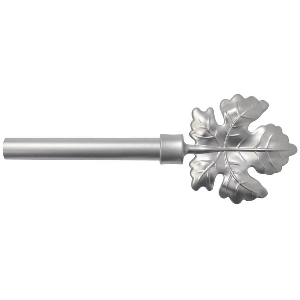 vidaXL Teleskopická záclonová tyč dekorativní koncovky 2 ks, stříbrná