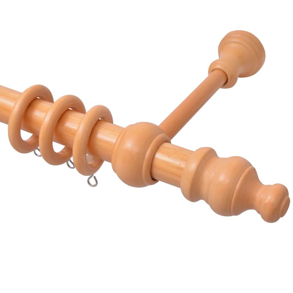 vidaXL Záclonová tyč dekorativní koncovky 2 ks přírodní dřevo