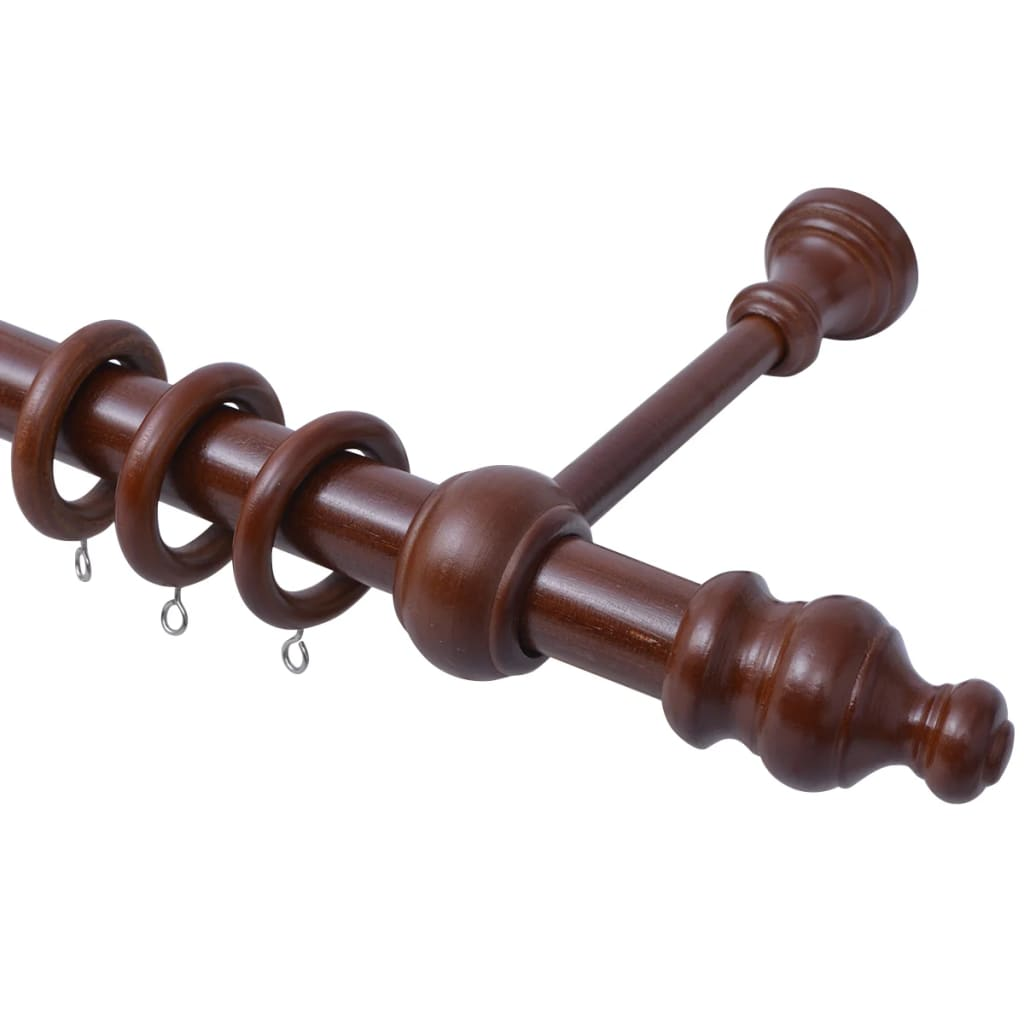 vidaXL Záclonová tyč dekorativní konce 2 ks ořechové dřevo
