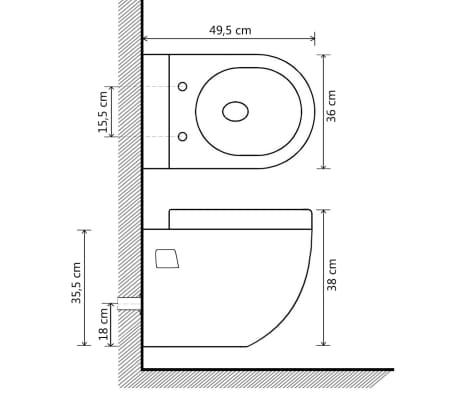 vidaXL Viseča WC Školjka Keramična Bele Barve[8/8]