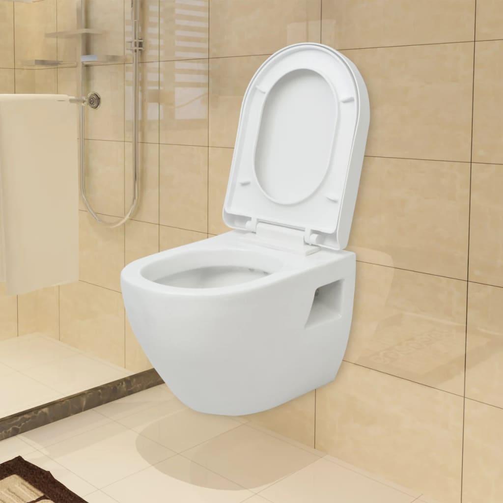 wandmontierte wand h nge toilette softclose wc sitz keramik wei badzimmer ebay. Black Bedroom Furniture Sets. Home Design Ideas