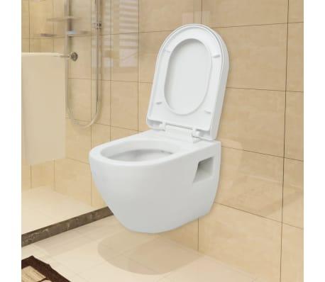 vidaXL Viseča WC Školjka Keramična Bele Barve[1/8]