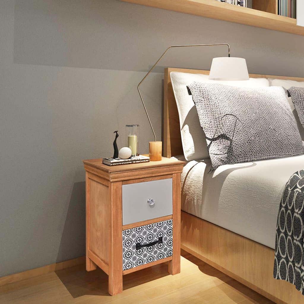 vidaXL Noční stolek se zásuvkami 34x34x46 cm masivní dřevo