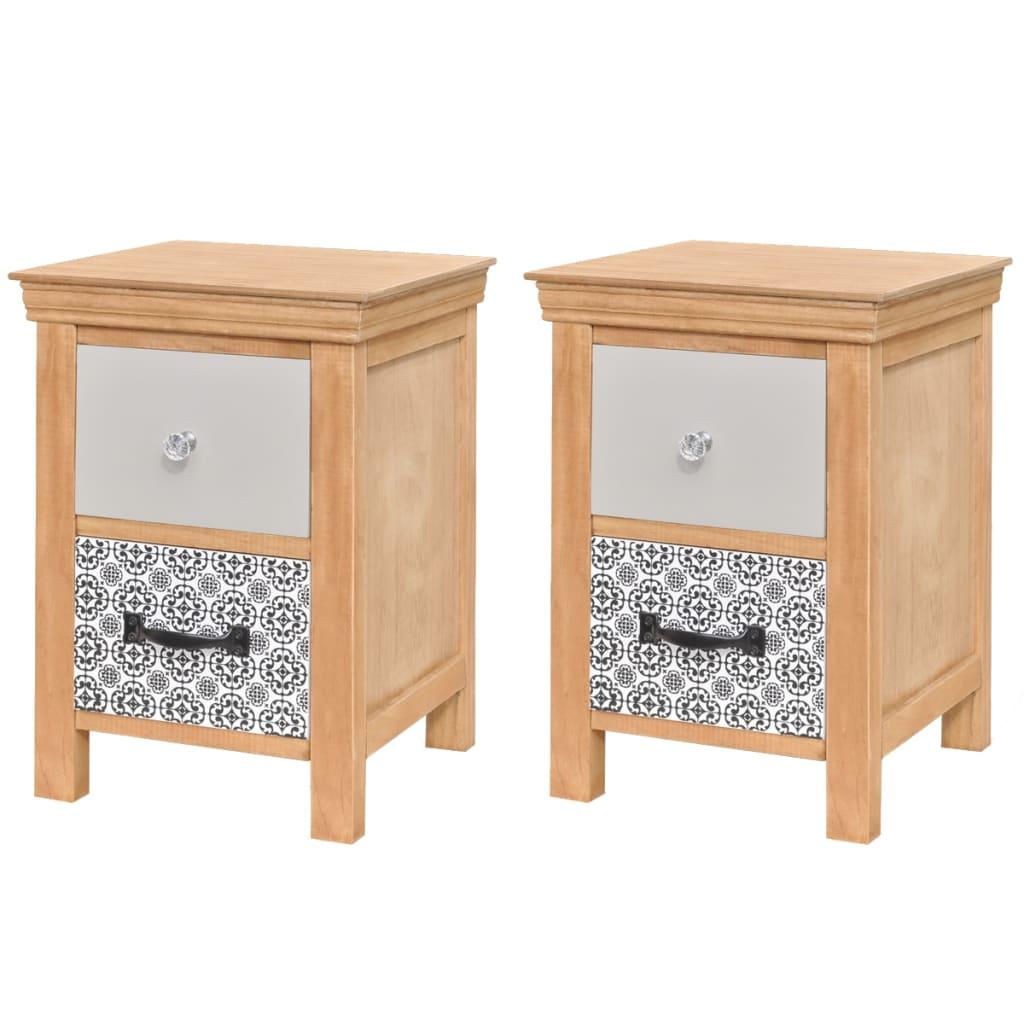 vidaXL Noční stolky se zásuvkami 2 ks 34x34x46 cm masivní dřevo