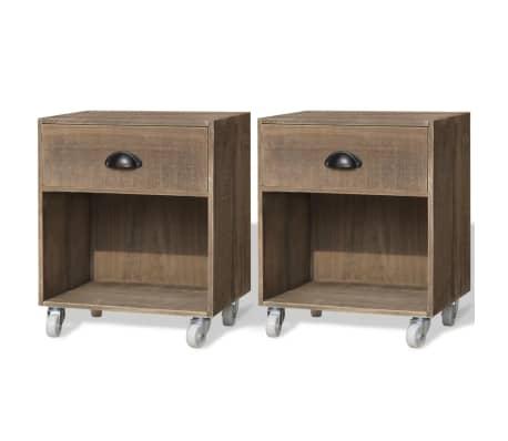 vidaXL Nightstand 2 pcs Brown Solid Wood[1/12]
