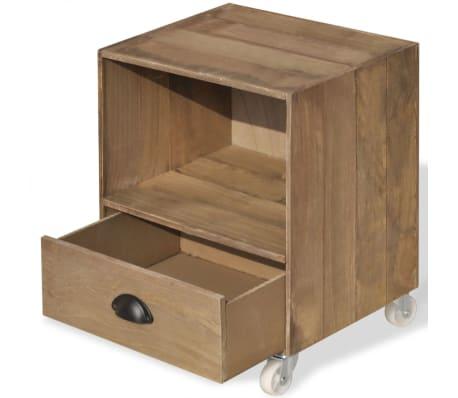 vidaXL Noptiera din lemn masiv, maro, 2 buc.[10/12]