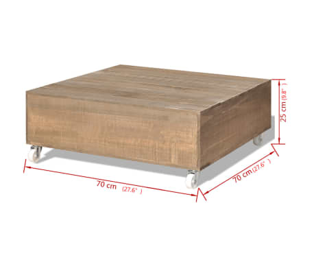 vidaXL Table basse Bois massif Marron[5/5]