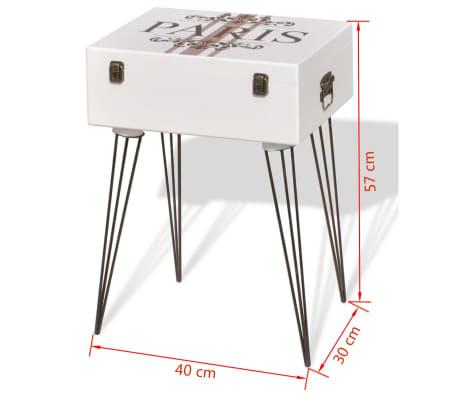 vidaXL Szafka w kształcie walizki, 40x30x57 cm, biała[6/6]