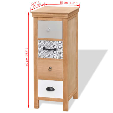 "vidaXL Drawer Cabinet 13.8""x13.8""x35.4"" Solid Wood[6/6]"