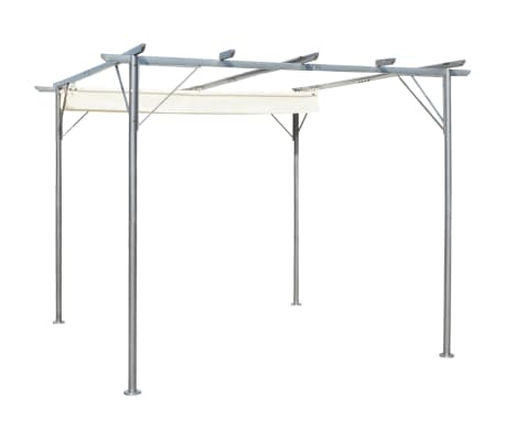 Vidaxl Pergola With Retractable Roof Cream White Steel 3x3 M Vidaxl Com Au