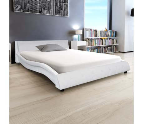 acheter vidaxl cadre de lit 140 x 200 cm cuir artificiel blanc pas cher. Black Bedroom Furniture Sets. Home Design Ideas
