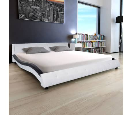 acheter vidaxl cadre de lit 180 x 200 cm cuir artificiel noir et blanc pas cher. Black Bedroom Furniture Sets. Home Design Ideas