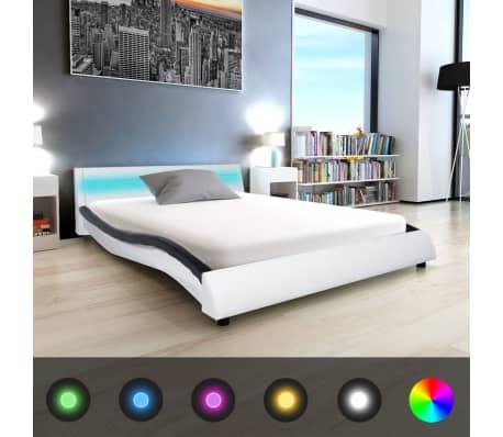 vidaxl bettrahmen mit led 140x200 cm kunstleder schwarz. Black Bedroom Furniture Sets. Home Design Ideas