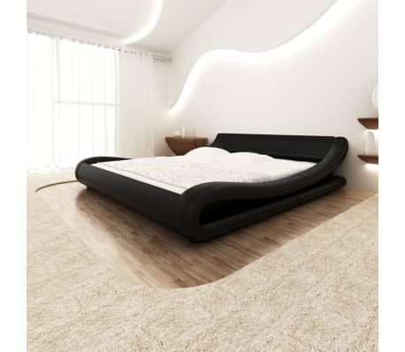Vidaxl telaio letto 180x200 cm in pelle artificiale arrotondato nero - Telaio del letto ...