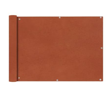 vidaXL balkona aizslietnis, 75x600 cm, sarkanbrūns oksforda audums