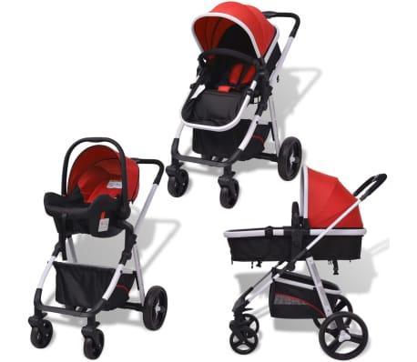 vidaXL Poussette 3-en-1 Aluminium Rouge et noir[2/14]