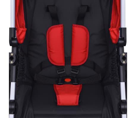 vidaXL 3-in-1 Kinderwagen Aluminium rot und schwarz[12/14]