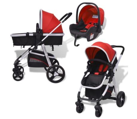 vidaXL 3-in-1 Kinderwagen Aluminium rot und schwarz[3/14]