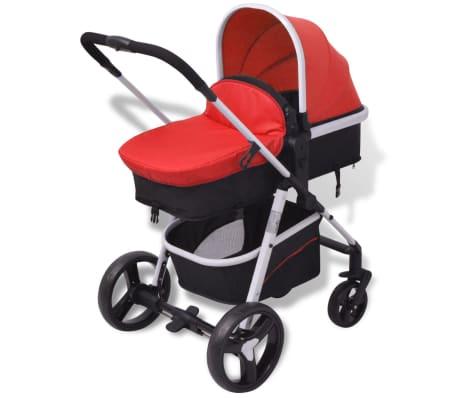vidaXL 3-in-1 Kinderwagen Aluminium rot und schwarz[7/14]