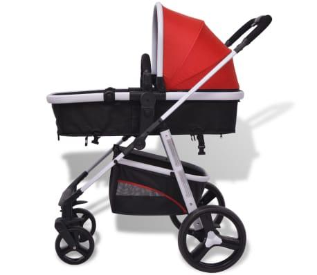 vidaXL 3-in-1 Kinderwagen Aluminium rot und schwarz[8/14]