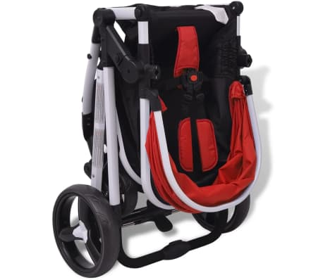 vidaXL 3-in-1 Kinderwagen Aluminium rot und schwarz[9/14]