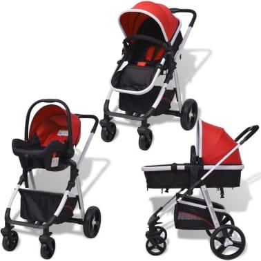 vidaXL 3-in-1 Kinderwagen Aluminium rot und schwarz[2/14]