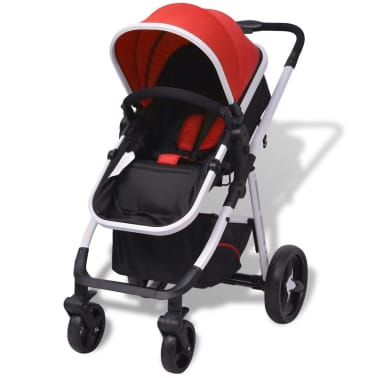 vidaXL 3-in-1 Kinderwagen Aluminium rot und schwarz[4/14]