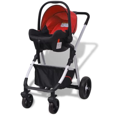 vidaXL 3-in-1 Kinderwagen Aluminium rot und schwarz[5/14]
