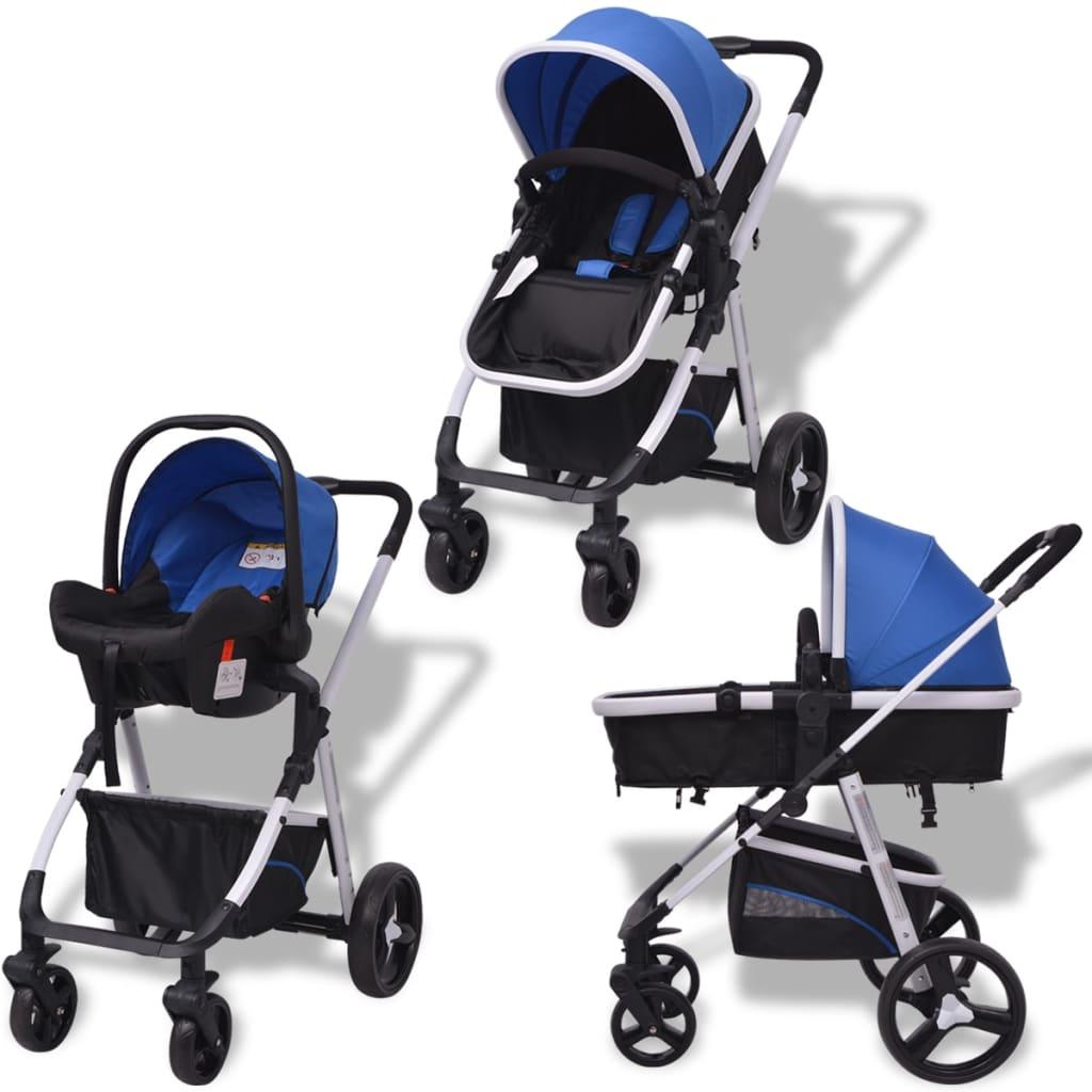 vidaXL Kočárek 3 v 1 hliníkový, modro-černý