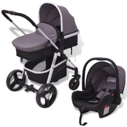 vidaXL Kinderwagen 3-in-1 aluminium grijs en zwart