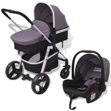 vidaXL 3-in-1 Vaikiškas sulankstomas vežimėlis, aliuminis, pilkas/juodas[1/12]