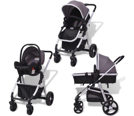 vidaXL 3-in-1 Vaikiškas sulankstomas vežimėlis, aliuminis, pilkas/juodas[2/12]