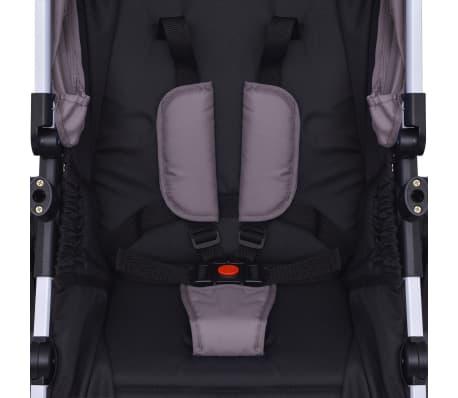 vidaXL 3-in-1 Vaikiškas sulankstomas vežimėlis, aliuminis, pilkas/juodas[11/12]