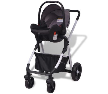 vidaXL 3-in-1 Vaikiškas sulankstomas vežimėlis, aliuminis, pilkas/juodas[5/12]
