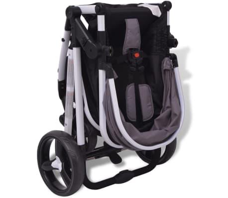 vidaXL 3-in-1 Vaikiškas sulankstomas vežimėlis, aliuminis, pilkas/juodas[9/12]