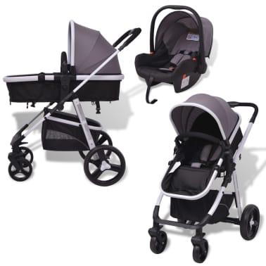 vidaXL 3-in-1 Vaikiškas sulankstomas vežimėlis, aliuminis, pilkas/juodas[3/12]