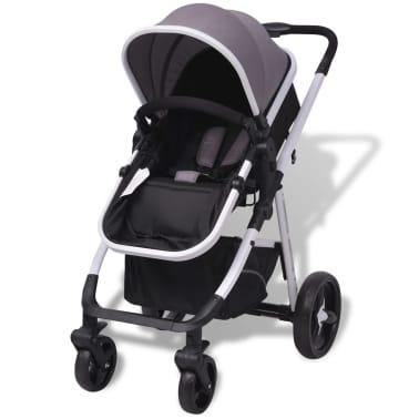 vidaXL 3-in-1 Vaikiškas sulankstomas vežimėlis, aliuminis, pilkas/juodas[4/12]