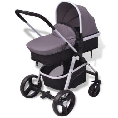 vidaXL 3-in-1 Vaikiškas sulankstomas vežimėlis, aliuminis, pilkas/juodas[7/12]
