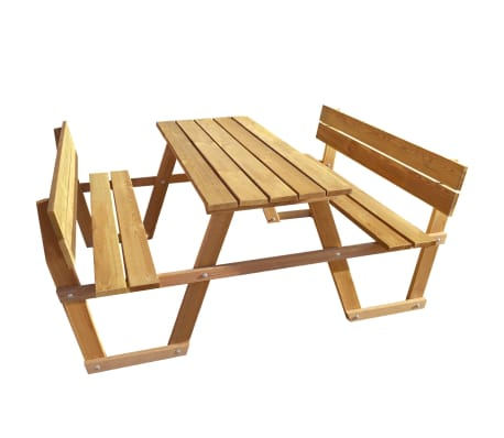 VidaXL Picnic Table With Backrest Impregnated Pinewood Garden Table - Picnic table with backrest